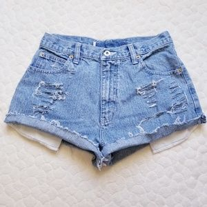 Vintage 90s distressed jean shorts mom high rise